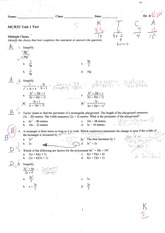 MCR3U Algebra test solutions