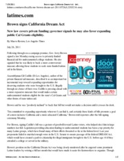 Brown signs California Dream Act - latimes