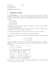 Exam A Solutions on Number Theory
