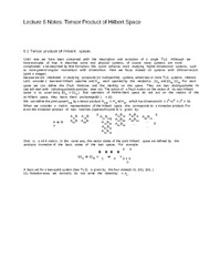 Lecture 6 Notes Tensor Product of Hilbert Space