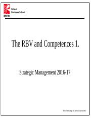 RBV and Competences 1. 2016-17(1)