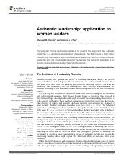 authentic leadership,application to women leaders