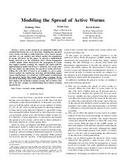 Modeling the Spread of Active Worms