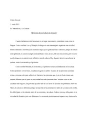 Opinions of Ecuadorian Culture Essay