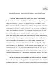 Summary Response of How Technology Makes Us Better Social Beings