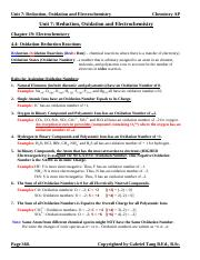 Unit 7 Reduction, Oxidation and Electrochemistry Notes (answers)