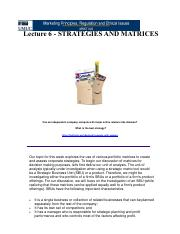 Lecture 6 Strategies and Matrices