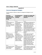 Appendix B~Classroom Management Strageties