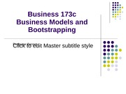 Business Models and Bootstrapping PP