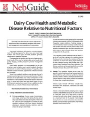 Dairy Cow Health & Metabolic Disease Relative to Nutritional Factors
