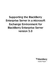 blackberry server support in a microsoft exchange environment 5.0 student textbook