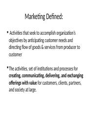 Chapter 1 - Marketing's Value