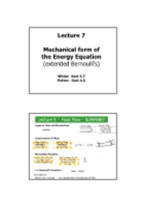 Lecture 7 - Mechanical Form Of The Energy Equation