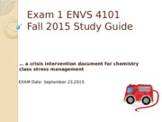 Study Guide Exam #1 Fall 2015