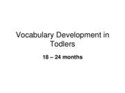 Vocabulary Development in Toddlers