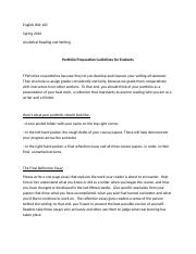 Final Portfolio Preperation and Final Reflection Essay Guidelines