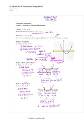 4.1 Quadratic and Polynomial Inequalities
