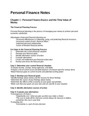 FSC personal finance notes