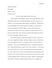 i know why the caged bird sings by a angelou reading log i 4 pages hs eng caged bird essay