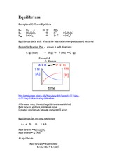 Lecture Notes on Chemical Equilibrium