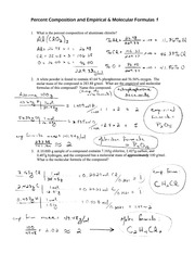 Empirical and Molecular Formulas Worksheet Solution  Percent Composition and Empirical