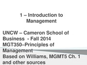 MANAGEMENT LECTURE SLIDES CHAPTER 1 - Intro to Management part 2