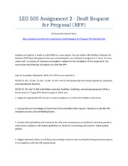 LEG 505 Assignment 2 - Draft Request for Proposal (RFP) - Strayer University NEW