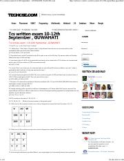 Tcs written exam 10-12th September , GUWAHATI _ TechCSE