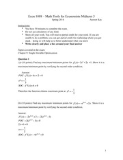 ECON 1088 Midterm 3 Answers