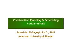 HO-01 - Construction Planning & Scheduling