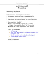 Electrical Notes on Transistors