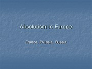 Ch. 15 Absolutism in Europe