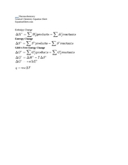 Thermochemistry Equation Sheet