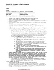 Gov 370L- Congress & the Presidency Full Semester Notes- Spring 2007