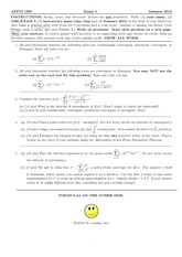 Exam 3 Summer 2012 on Calculus 2 for Engineers