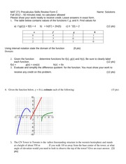 MAT 271 Precalculus Review Test C F12 solutions