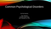 Week 8 - Psychological Disorders