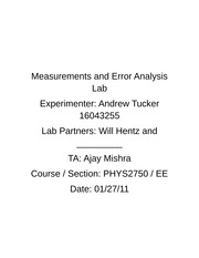 Measurements and Error Analysis Lab