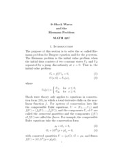 Shock Waves and the Reinmann Problem Notes
