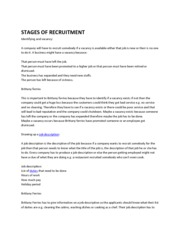 STAGES OF RECRUITMENT (Report)