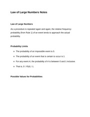 Law of Large Numbers Notes