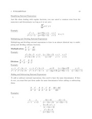 MATH 3210 Simplifying Rational Expressions Notes