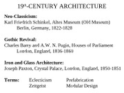 7ARCH2003 - Lect 18 - 19th-Century Architecture