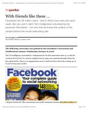 With friends like these ... Tom Hodgkinson on the politics of the people behind Facebook | Technolog