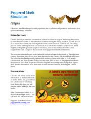 peppered moth simulation worksheet - Peppered Moth Simulation Lab ...