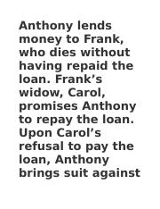 Anthony lends money to Frank
