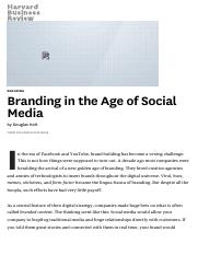 Branding in the Age of Social Media