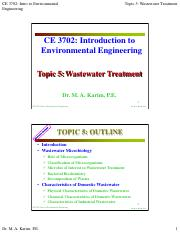 CE 3702 - Topic 5 - Wastewater Treatment