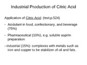 Industrial production of citric acid and ethanol-web