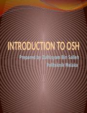 CHAP 1 - INTRODUCTION TO OSH